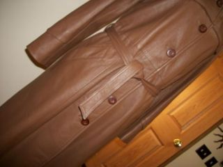 MINT VTG TOFFEE BROWN SOFT LEATHER BOND GIRL MOD TRENCH COAT MED / 10