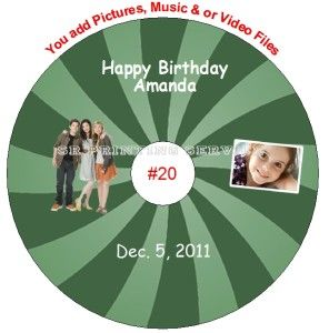 iCarly Birthday Favors Personalized CD or DVD Personalized Custom Made