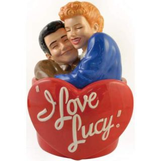 Love Lucy Hugging Ricky Ricardo on Heart Ceramic Cookie Jar Westland