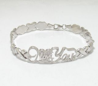 Hearts Kisses I Love You Bracelet 925 Sterling Silver
