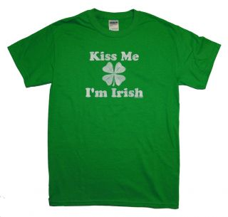 Kiss Me IM Irish Shamrock Clover Celtic Adult T Shirt Tee