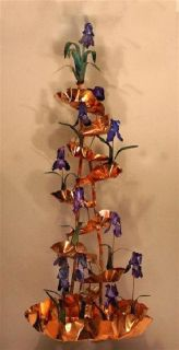 Indoor Copper Wall Fountain Tall Purple Iris Flower
