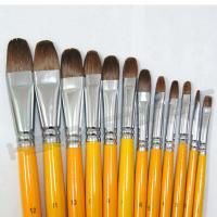 12 Pcs Filbert Artist Paint Brushes for Oil Acrylic Long Handle Yellow