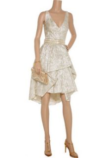 Lela Rose Belted metallic brocade dress   75% Off