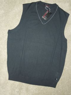 Mens Nike Tiger Woods Golf Merino Wool V Neck Sweater Vest Sz XL Black