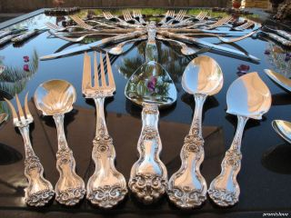 Large Wallace La Reine Sterling Silver Flatware Set Full Collectible