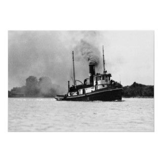 Vintage image of the tug boat Jesse James on the St. Clair River