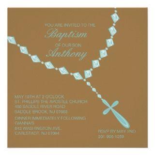 Blue, Rosary Beads Boys Baptism Invitation