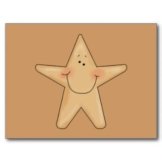 Cute Smiling Star Fish Cartoon Character Design Post Card