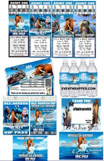 Ice Age Birthday Party Ticket Invitations VIP PASSES and Favors UPRINT