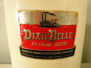 Vtg Dixie Belle 4 Qt Ice Cream Maker Freezer Cast Iron Tin Metal Wood
