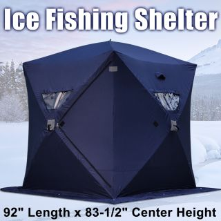 Dark Blue Portable Ice Fishing Shelter 2 3 4 Man Person Fish Shanty
