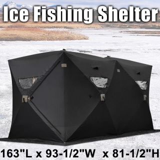 Black Folding Pop Up Ice Fishing Shelter 6 7 8 Person Man Fish Shanty