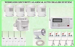 WIRELESS SECURITY BURGLAR ALERT ALARM & AUTO DIALER SYSTEM
