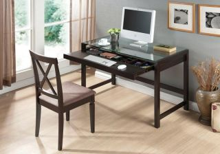 Modern Brown Wood Computer Writing Desk Glass Top Keyboard Tray w