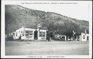 Idaho Springs Colorado CO 1950 Orange & Green Tourist Court Vintage