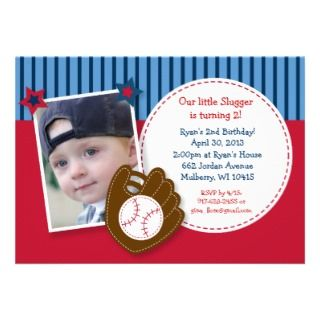 Invitaciones del cumpleaños de la foto del béisbol comunicados