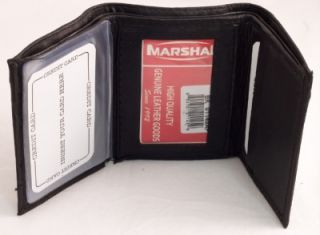RFID Identity Theft Protection Black Leather Trifold Mens Wallet w
