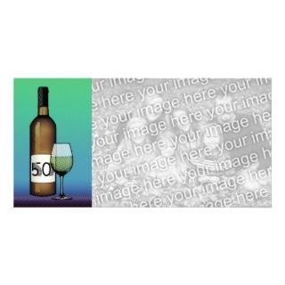 50th birthday or anniversary : wine bottle & glass customized photo
