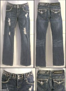 La Idol USA Jeans Distressed w Studs Rhinestones Sz 1 Disco Religion