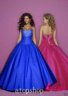 Stock Hot Pink Purple Royal Blue Prom Dresses Size 6 18