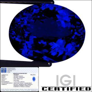 IGI Certified 4 86 ct AAAAA Natural DBlock Tanzanite Oval Cut Deep