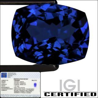 IGI Certified 1 97 ct AA Natural DBlock Tanzanite Cushion Cut Deep