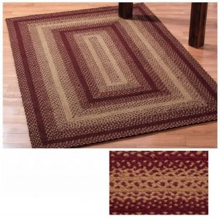 IHF Braided Jute Rectangle Rug Vintage Star Pattern Multiple Sizes