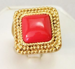 Lia Sophia 2009 Coral Reef ring with orange stone in a matte(dull