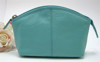 Ili Leather Cosmetic Bag Pouch Turquoise Makeup Bag New