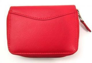 ILI LEATHER CREDIT CARD HOLDER CARD ID CASE ~ ONE ZIP INDEXER RED