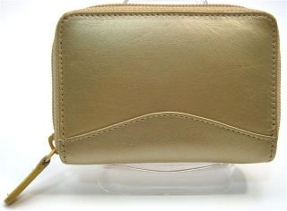 Ili Leather Credit Card Holder Card ID Case One Zip Indexer Gold New
