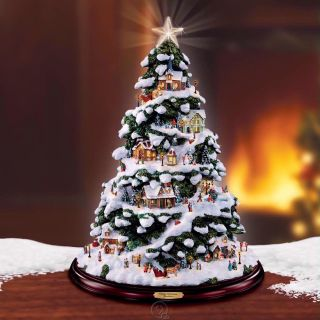 Kinkade Village Christmas Illuminated Tabletop Tree Village Figurine