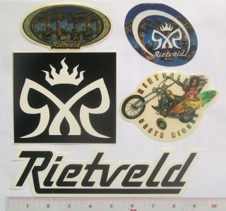 RIETVELD Surfboard Art 5 Stickers Maui Sons Rasta Rider Tiki Palms