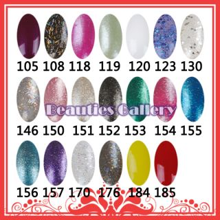 Nail Art UV Gel Color 15ml Soak Off Polish UV Lamp Glitter Tip Kit Set