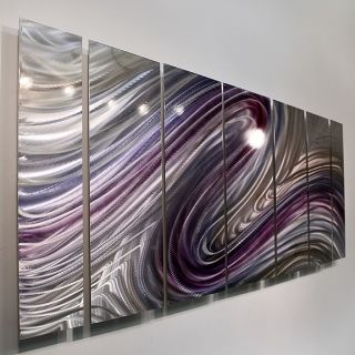 Purple Silver Painting Metal Wall Art Decor Wild Imagination
