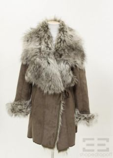 IMAN Taupe Grey Faux Fur Collar Coat Size Small
