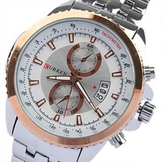 USD $ 15.29   Fashion Mens White Dial Gold Border And Number Sliver
