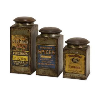 Imax 73046 3 73046 3 Addie Vintage Label Wood And Metal Canisters Set