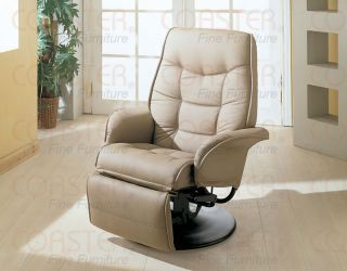 Beige Leatherette Swivel Recliner Chair Free s H