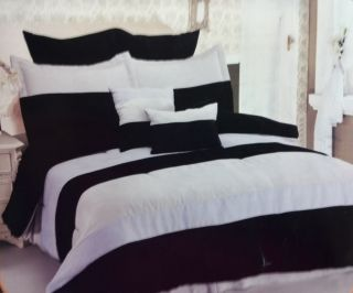 8PC Bed in A Bag Comforter Set Black Grey Lt Blue Stripes Border Queen