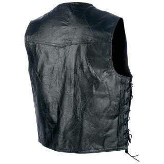 Mens Leather Motorcycle Biker Riding Vest Waist Coat w Side Laces M L