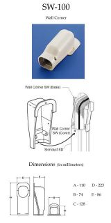 New Inaba Denko SW 100 Wall Corner Inlet Air Conditioner A C Slimduct