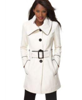 Inc International Concepts Womens Cream White Wool Blend Pea Coat L