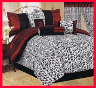 Pcs Flocking Jungle Zebra Comforter Set Bed in A Bag King Black