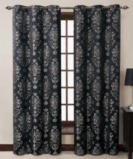 of 2 Riley Black Jacquard Grommet Window Curtain Drape Panels