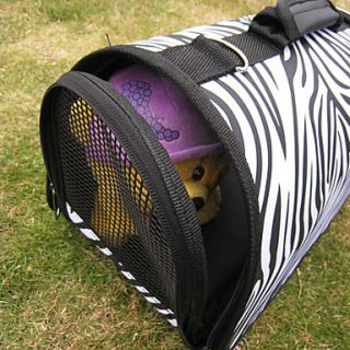 Zebra Print Portable Outdoor Dog Cat Carrier For Pets (37 x 24 x 23cm