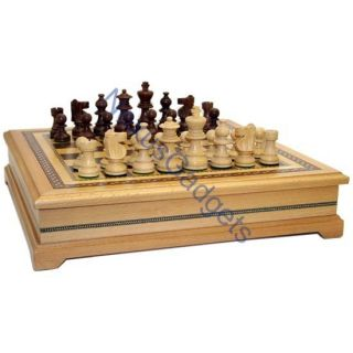 Original Indian Chess Set w Chess Box Large Game Set
