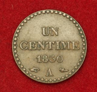 1850 France 2nd Republic Beautiful Copper Centime Coin VF