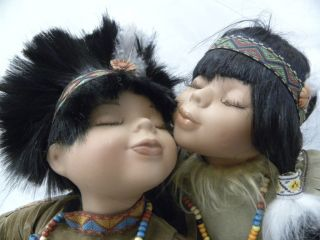 Dolls Porcelain Indian Boy and Girl Kissing Black Hills